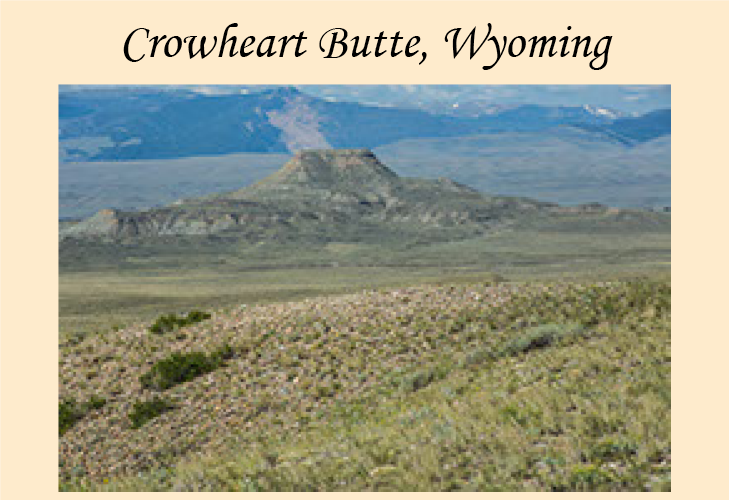 Photographs of Crowheart Butte, Wyoming.